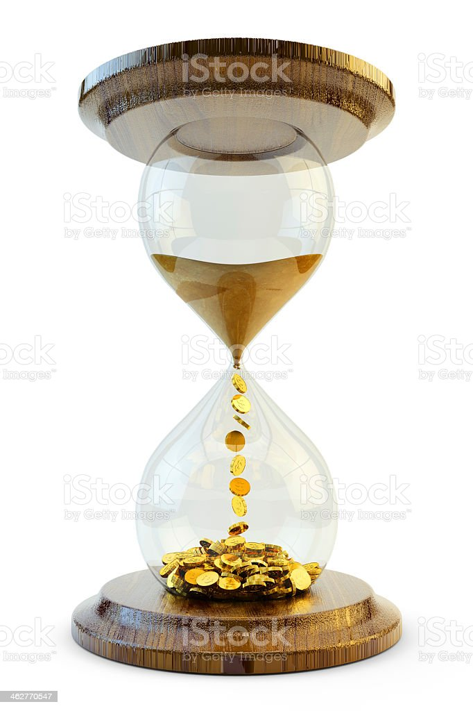 Hourglass that sand turns to money to show time is money  stock photo