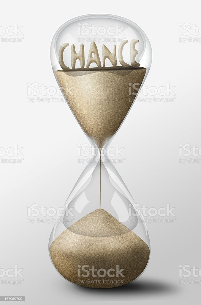 Hourglass with Chance made of sand. Concept uncertainty royalty-free stock photo