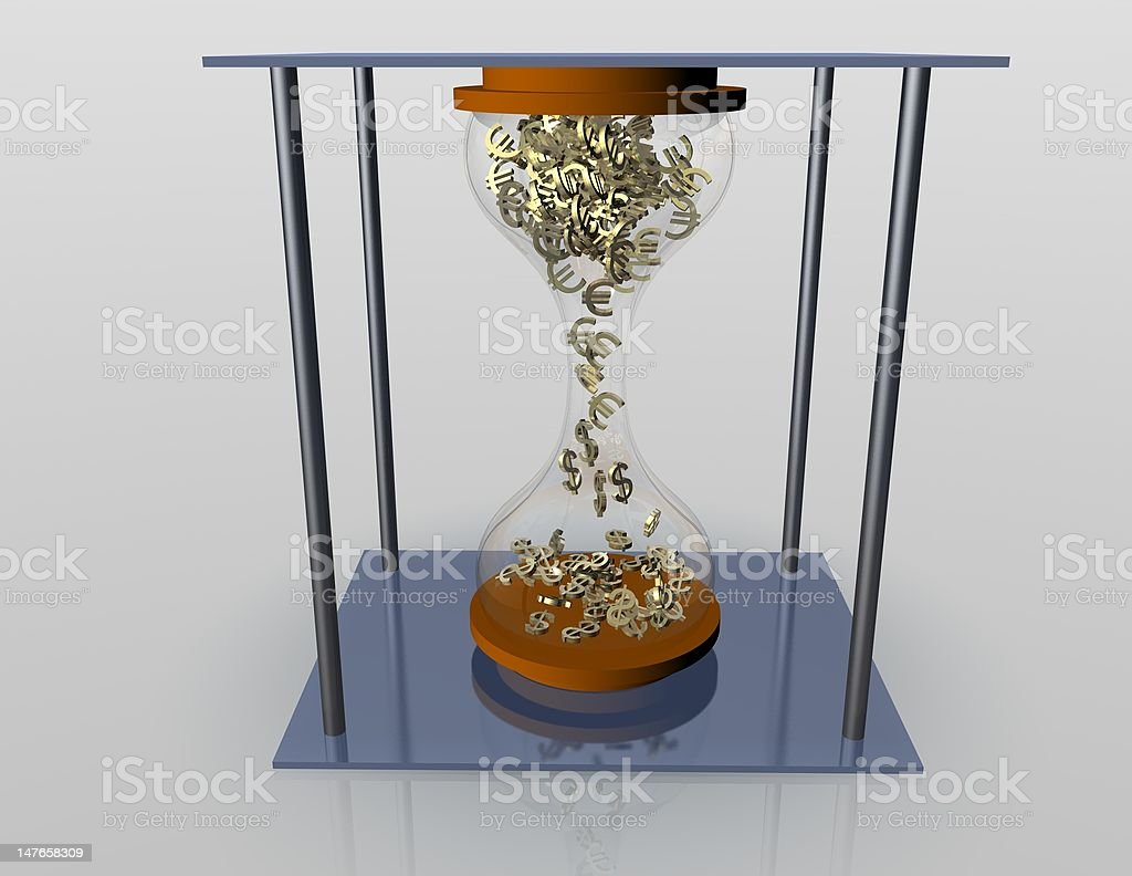 hourglass with dollar and euro royalty-free stock photo