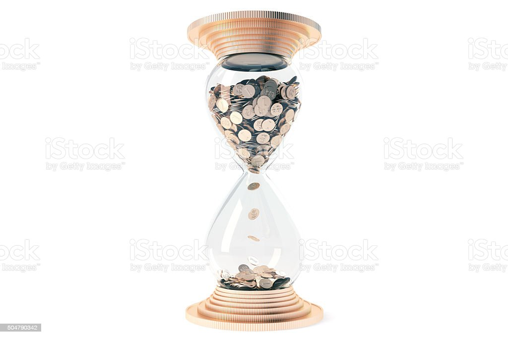 hourglass with golden sand dollars instead stock photo