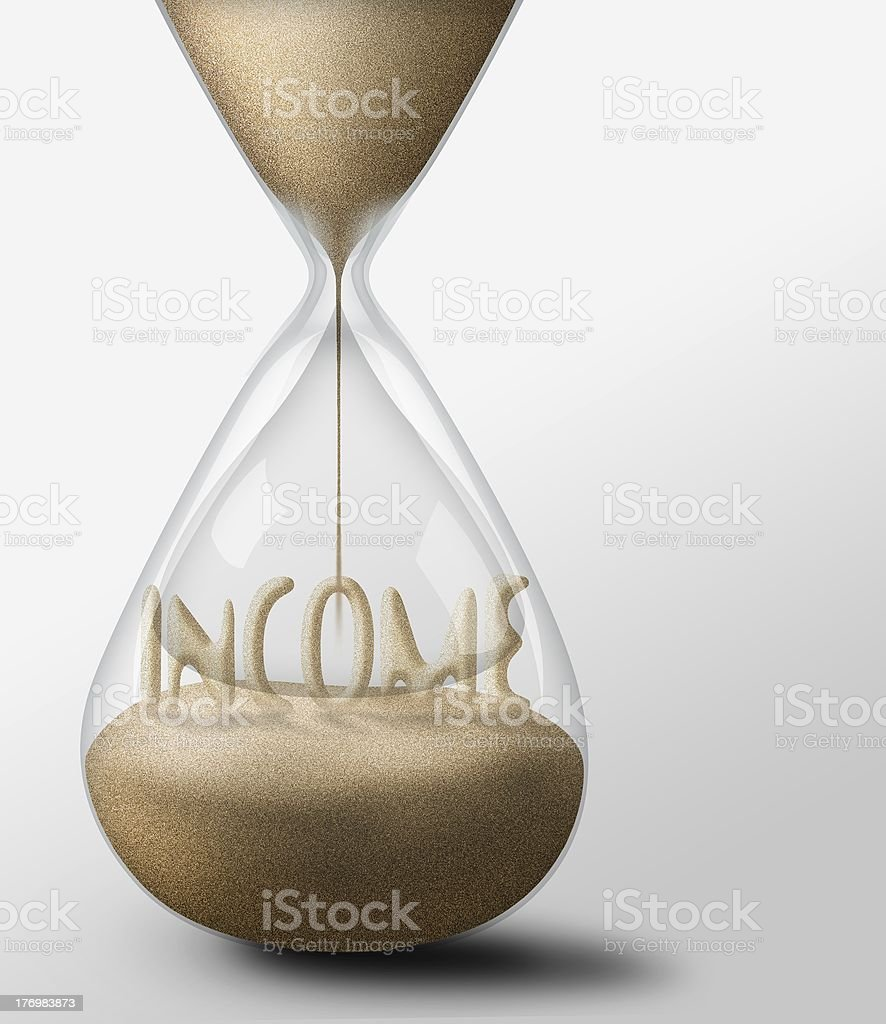 Hourglass with Income. concept of expectations business royalty-free stock photo