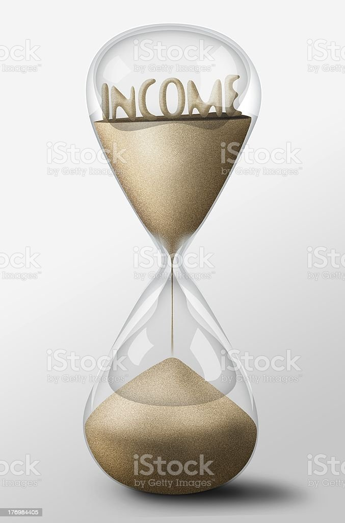 Hourglass with Income made of sand. Concept expectation royalty-free stock photo