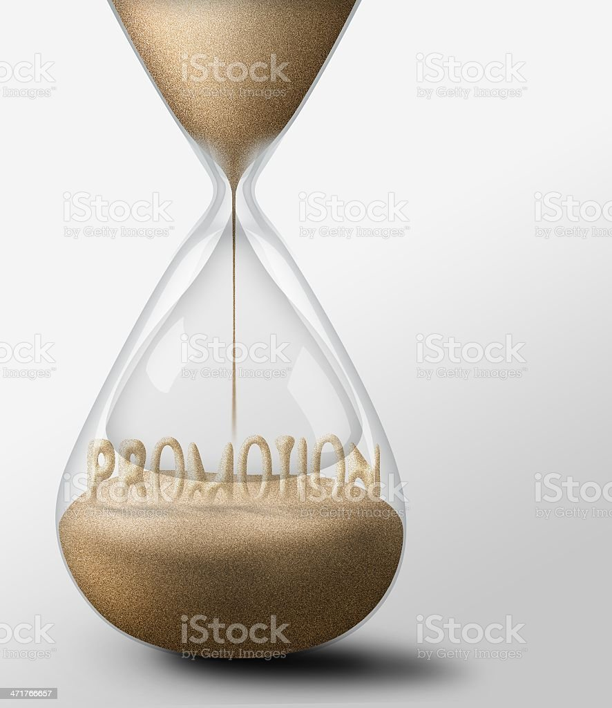 Hourglass with Promotion. concept of expectations and passing time royalty-free stock photo