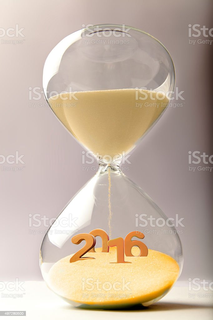 Hourglass with the number 2016 stock photo