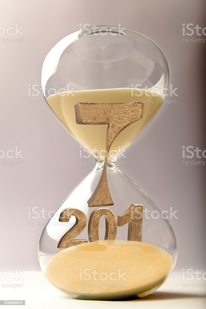 Hourglass with the number 2017 stock photo