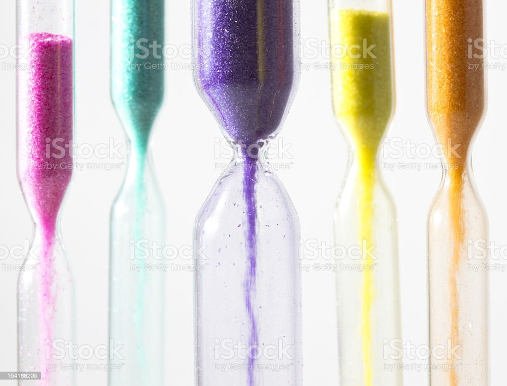 Hourglasses with different colored sand royalty-free stock photo