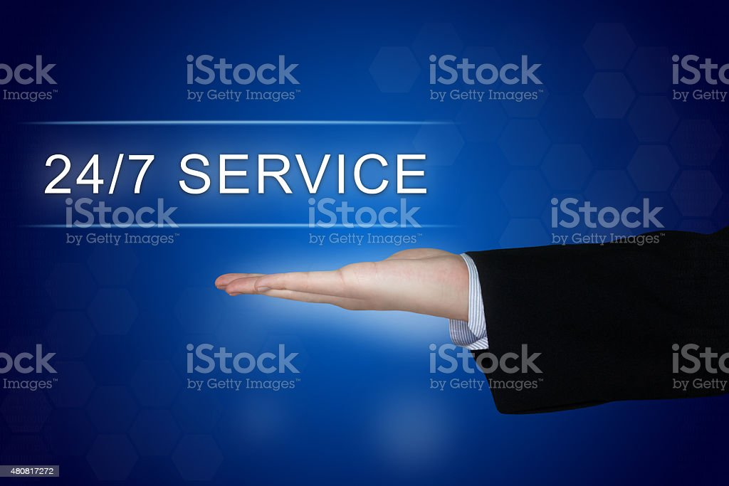 24 hours a day, 7 days a week service button stock photo