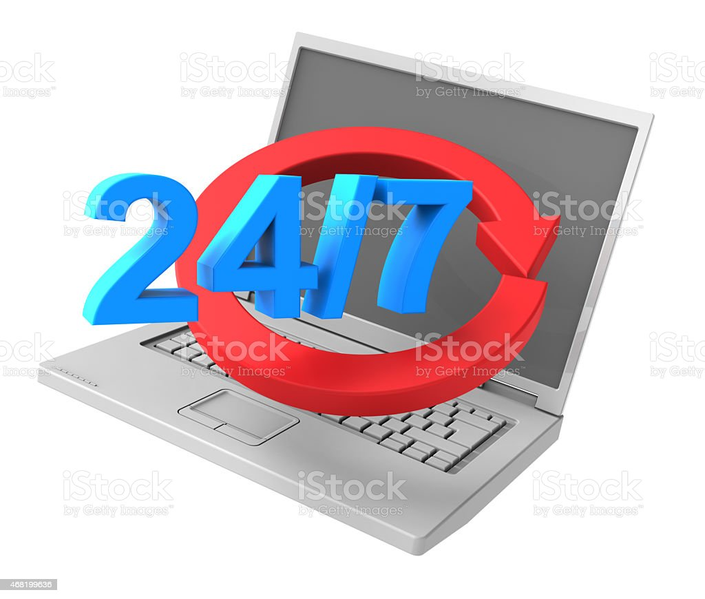 24 hours a day and 7 days a week service. stock photo