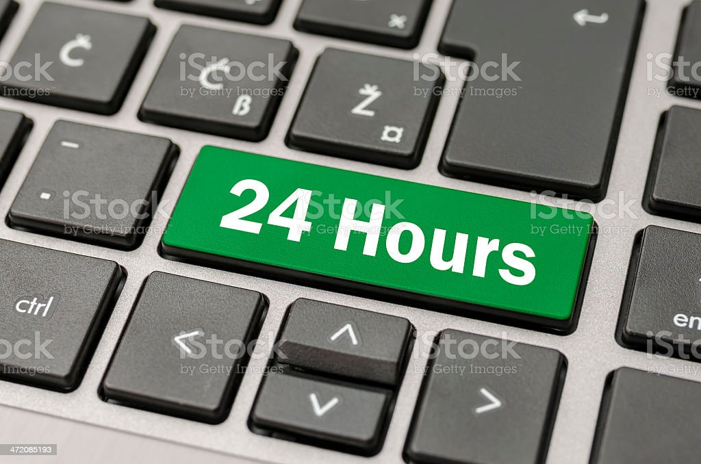 24 Hours button stock photo