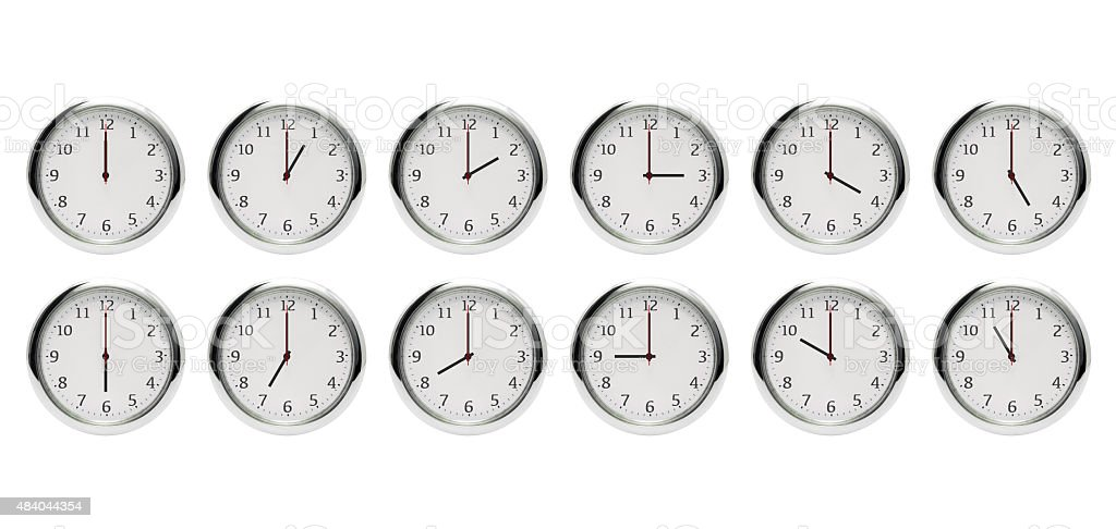 12 hours clock isolated on white (XX:00) stock photo