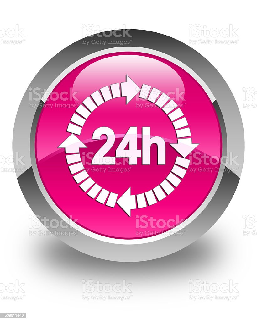 24 hours delivery icon glossy pink round button stock photo