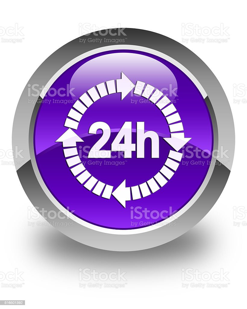 24 hours delivery icon glossy purple round button stock photo