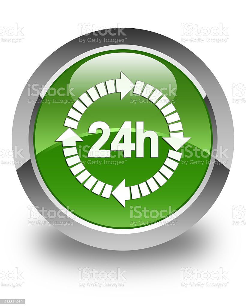 24 hours delivery icon glossy soft green round button stock photo
