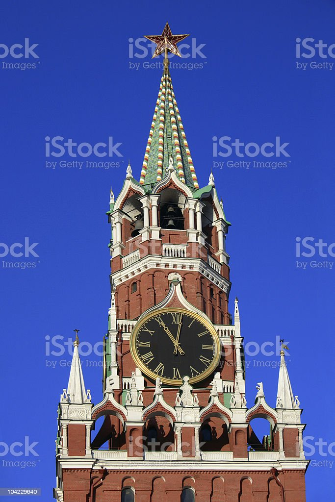 Hours on the Spassky tower royalty-free stock photo