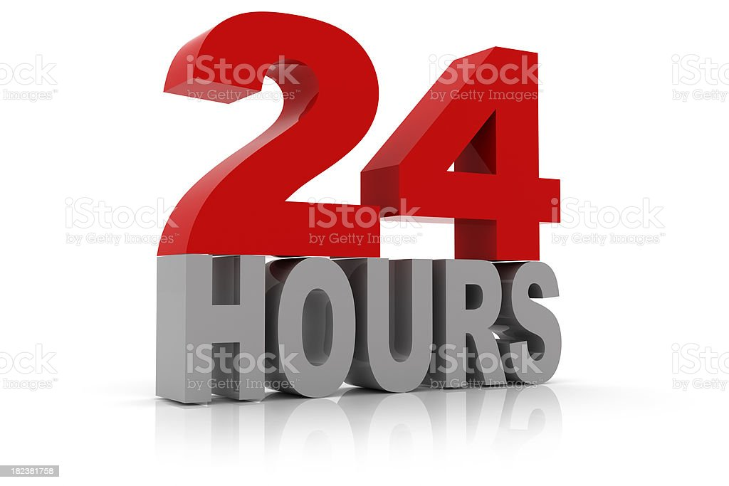 24 Hours Sign stock photo