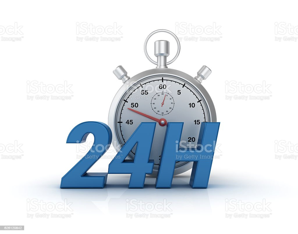 24 Hours Text with Stopwatch - 3D Rendering stock photo