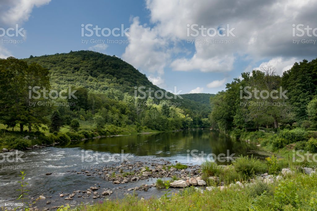 Housatonic River in West Cornwall, Connecticut stock photo