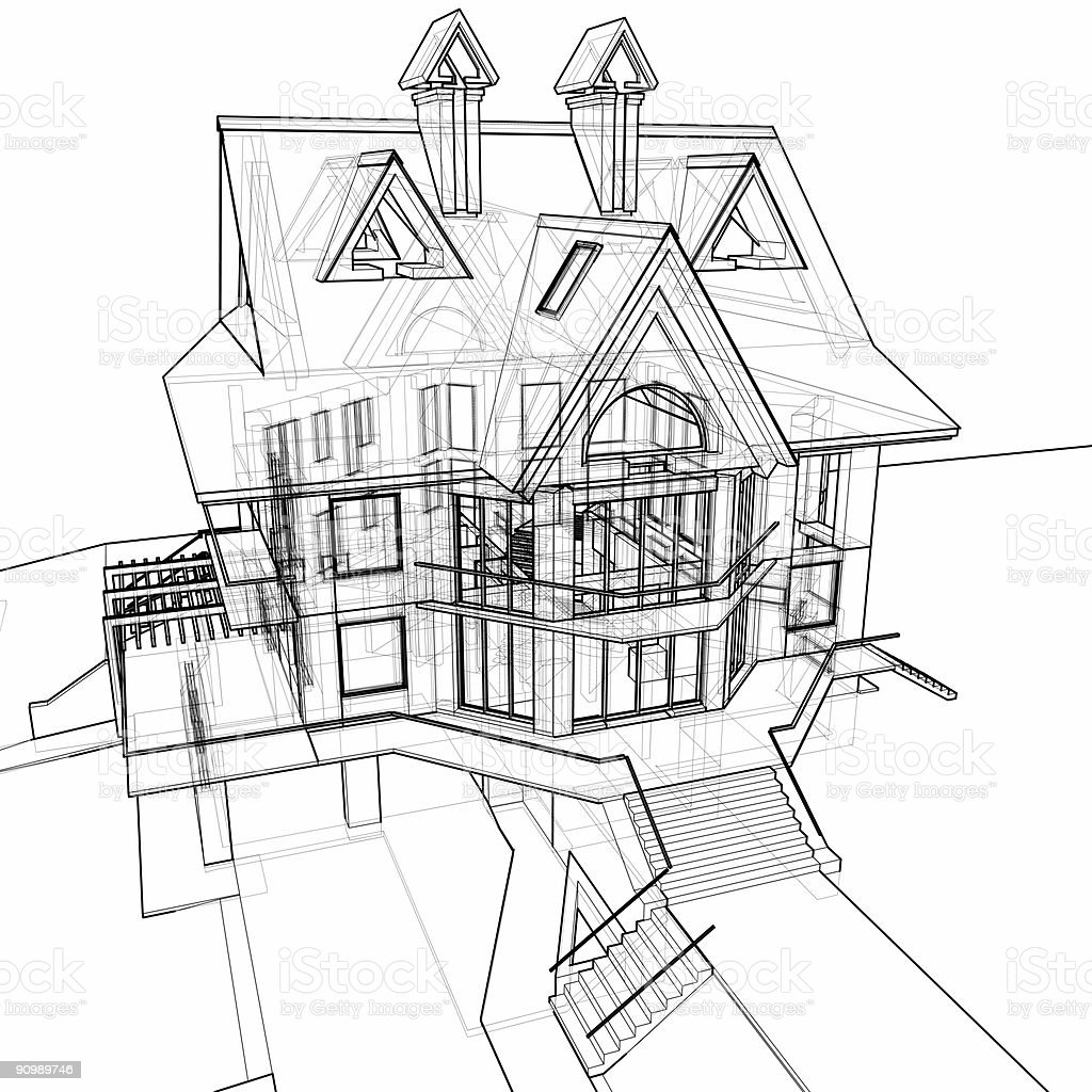 house: 3d technical draw royalty-free stock photo