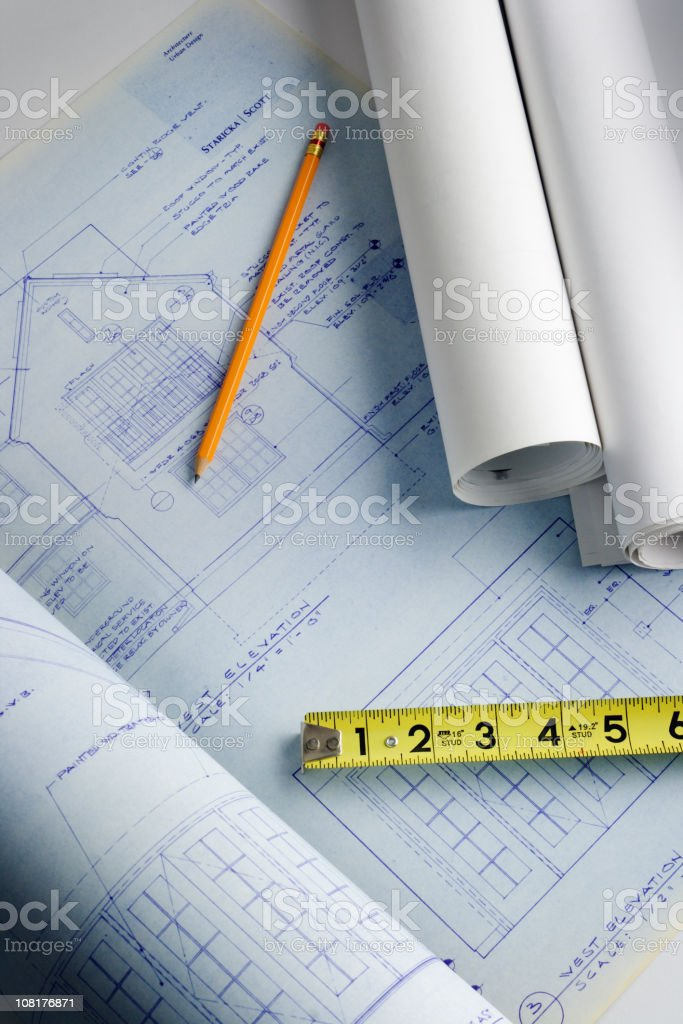 House Addition Blueprint Plan for Home Improvement Design, Engineering, Construction royalty-free stock photo