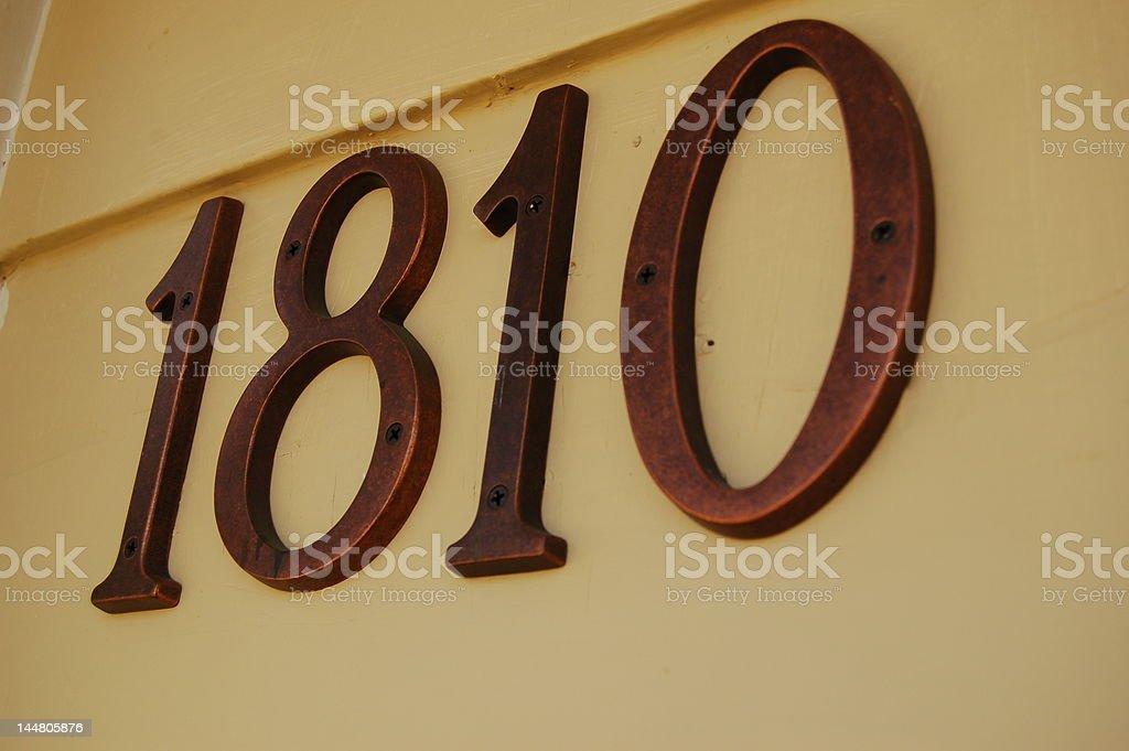 House Addres 1810 royalty-free stock photo