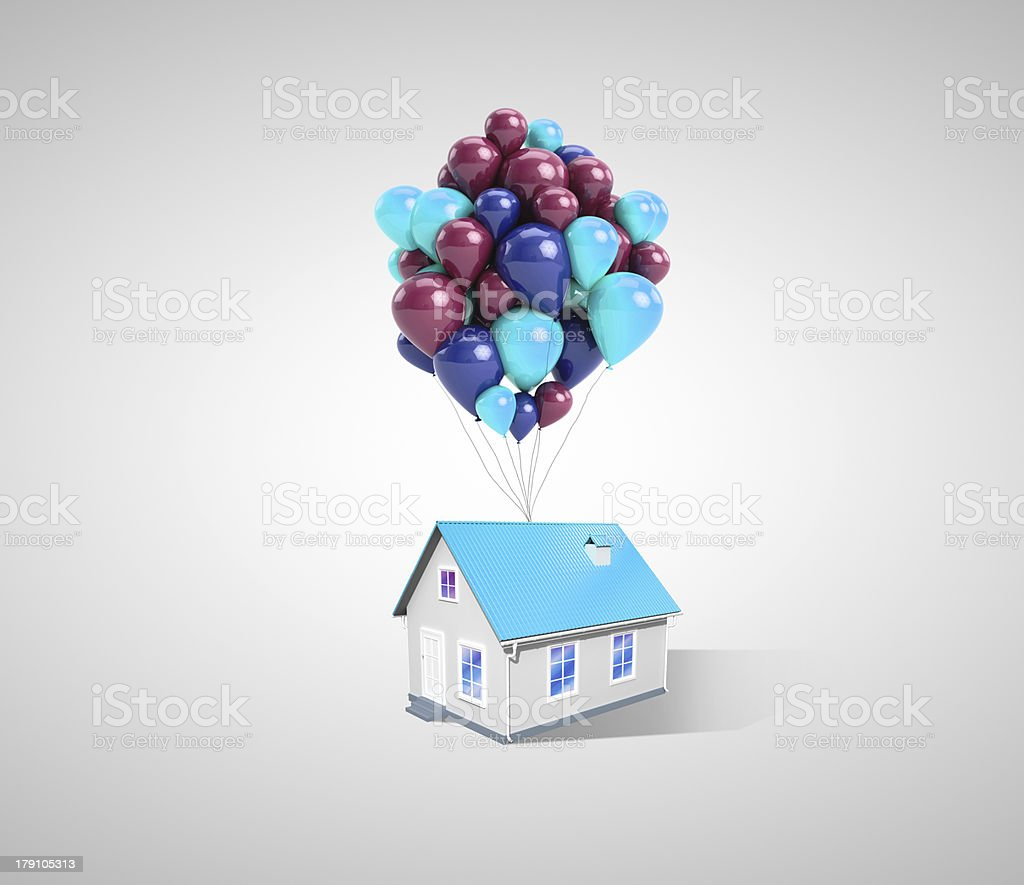 house and balloons royalty-free stock photo