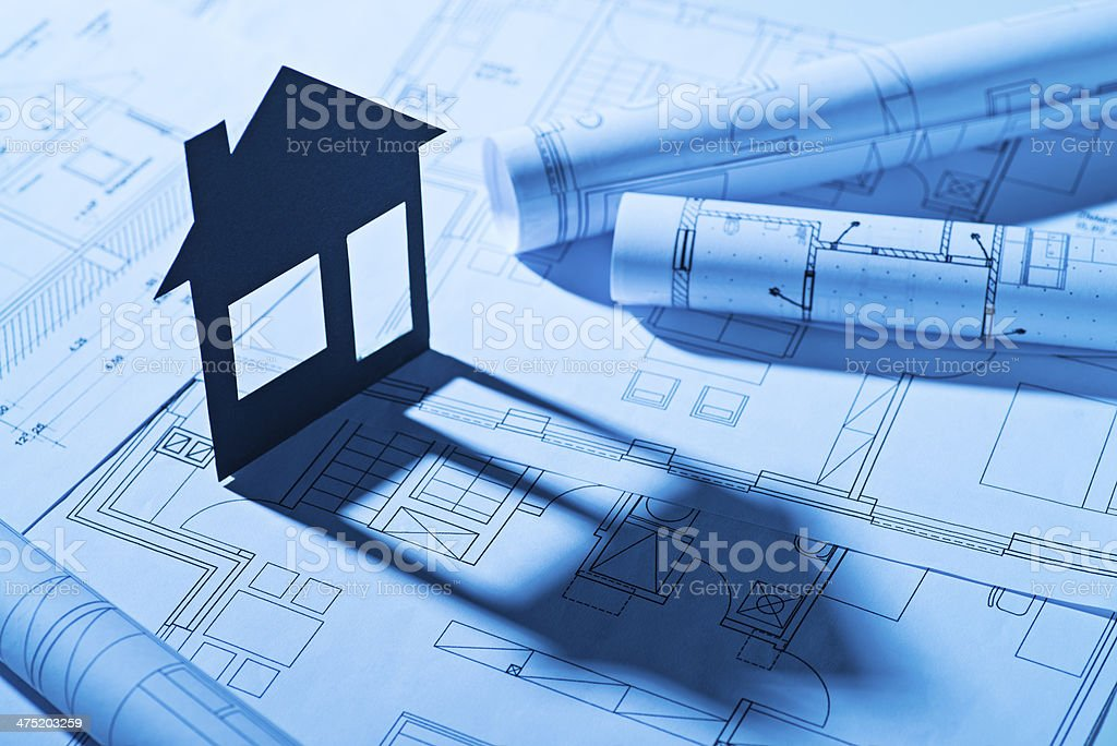 House and building plans stock photo