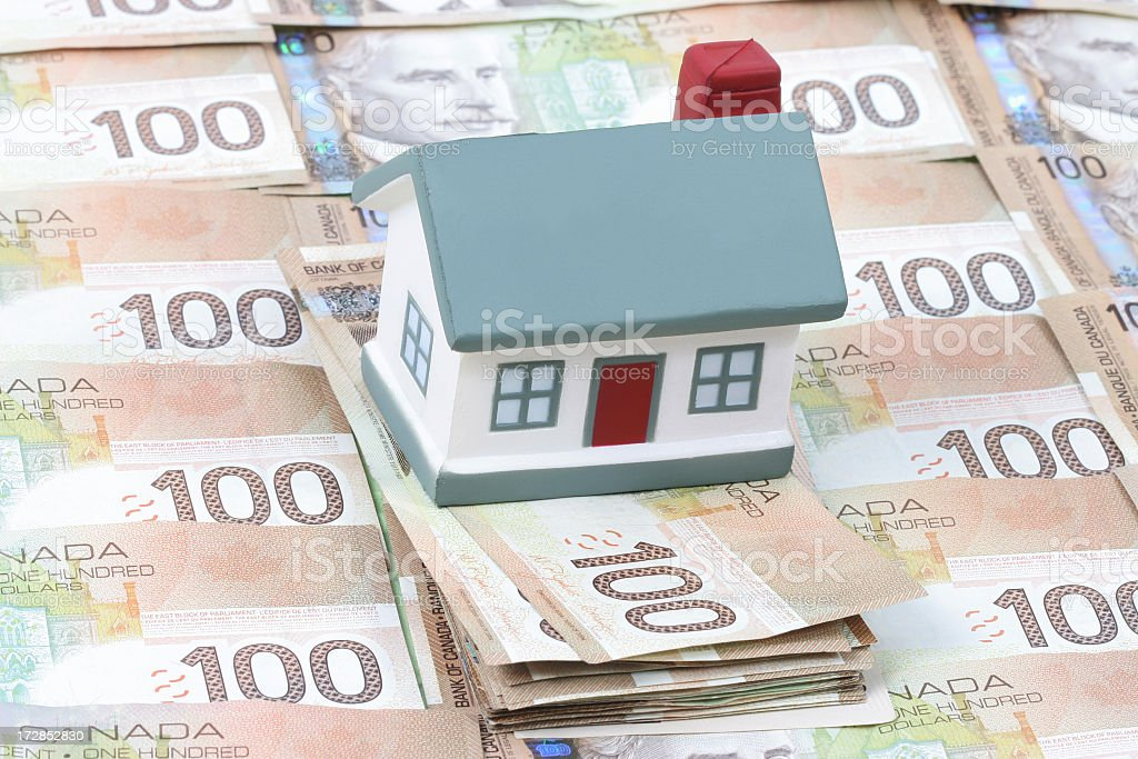 House and Canadian bills royalty-free stock photo