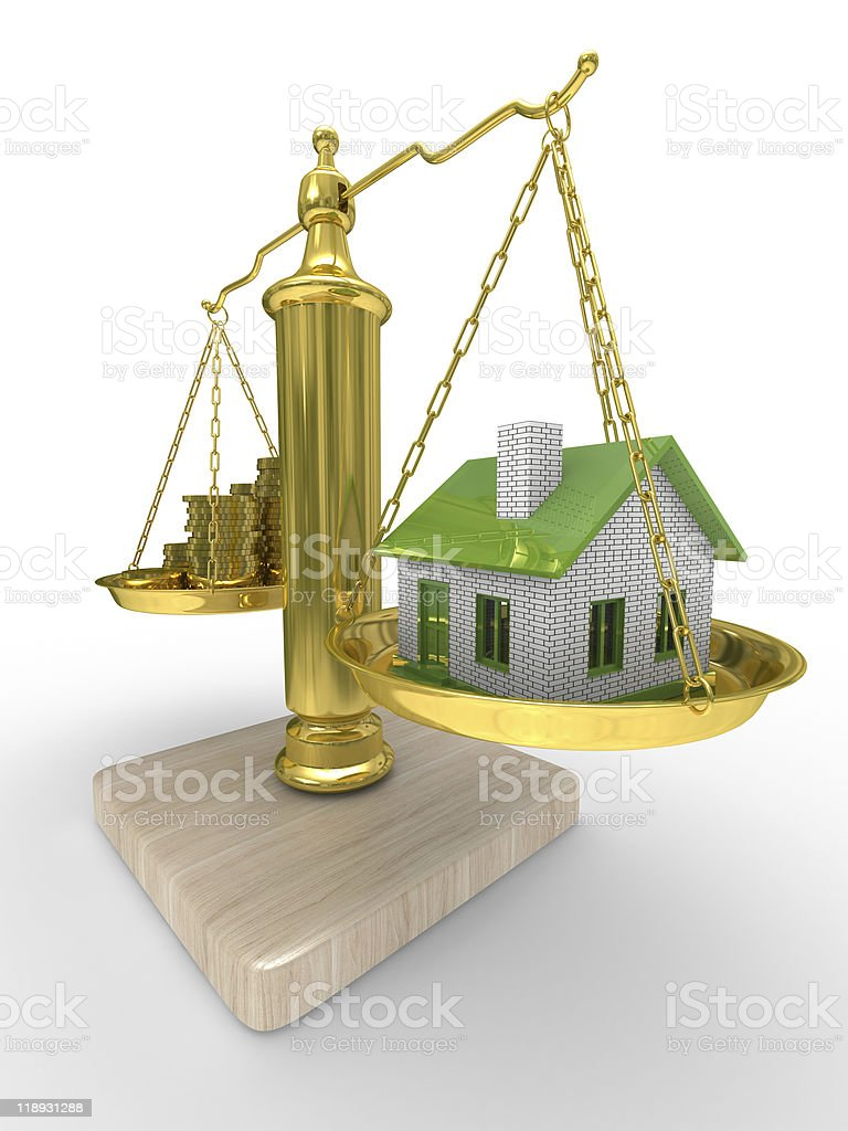house and cashes on scales. Isolated 3D image royalty-free stock photo