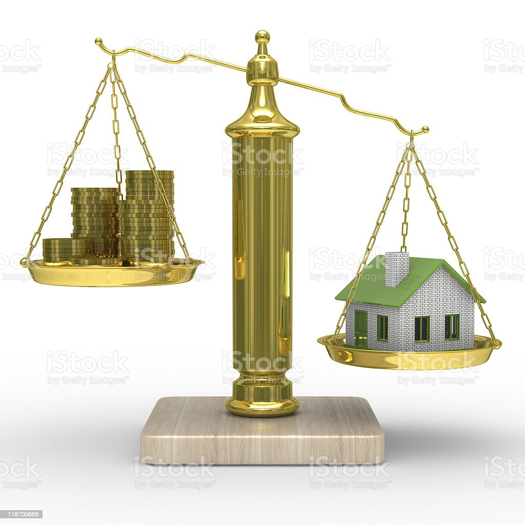 house and cashes on weights. Isolated 3D image royalty-free stock photo