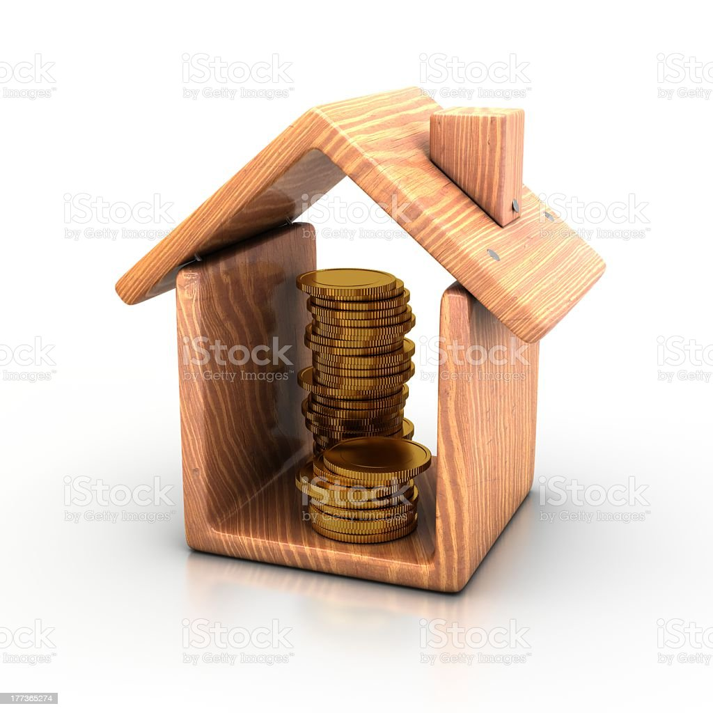 House and coins. royalty-free stock photo
