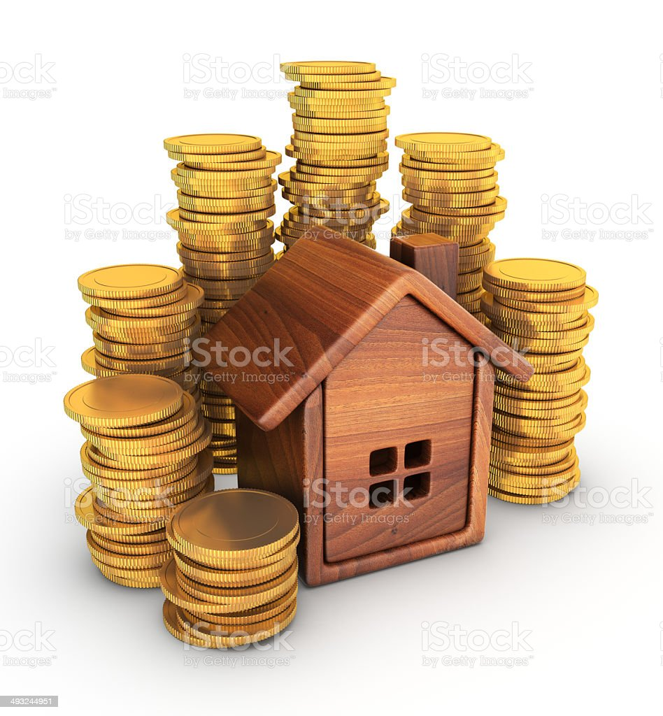 House and coins royalty-free stock photo