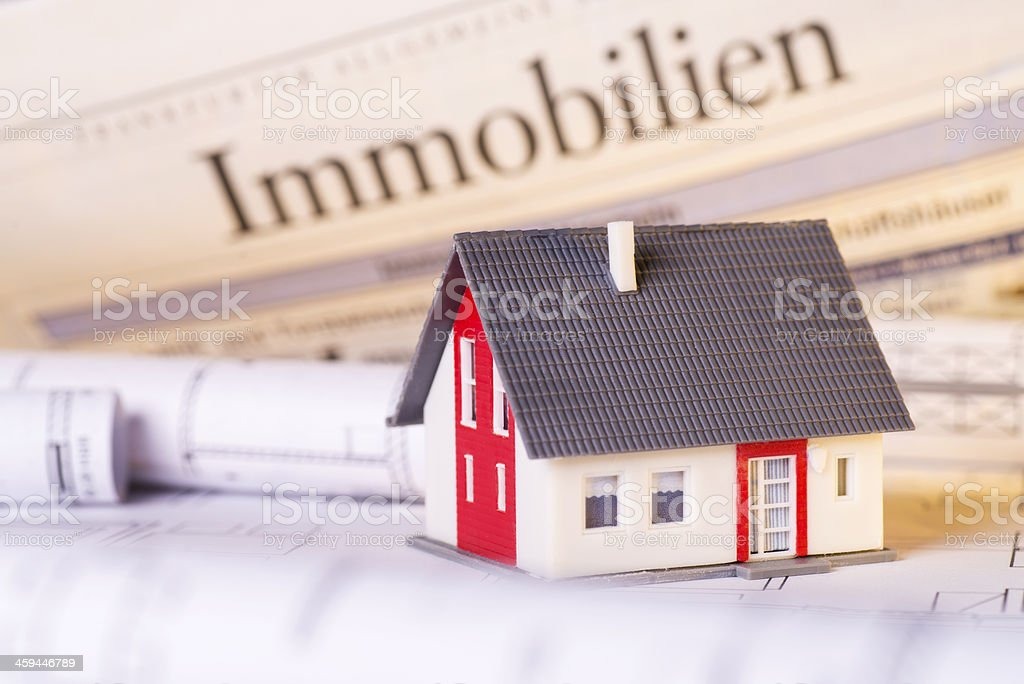 House and construction plans stock photo