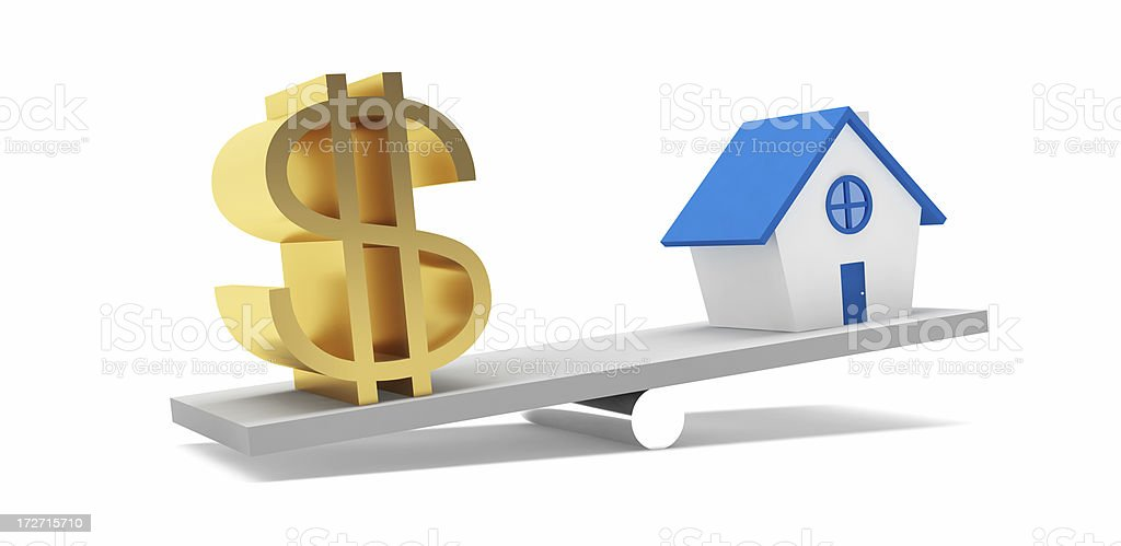 House and Dollar on the balance royalty-free stock photo
