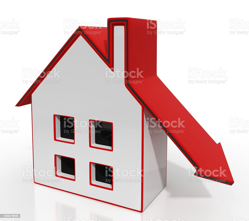 House And Down Arrow Shows Property Recession stock photo