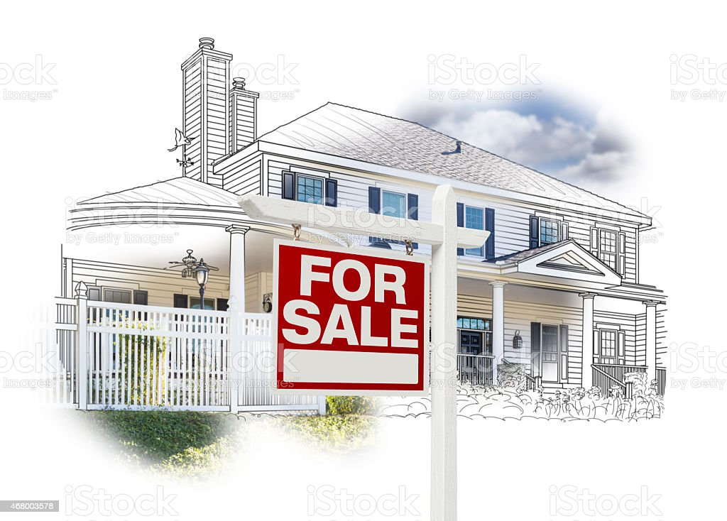 House and For Sale Sign Drawing and Photo on White stock photo