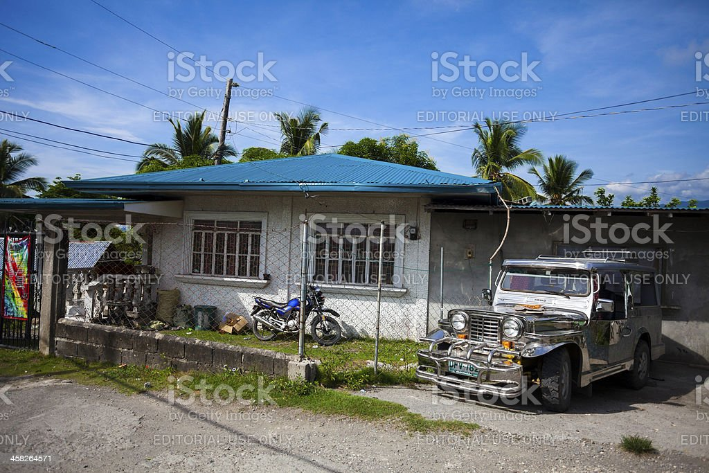 House and Jeepney, Philippines stock photo