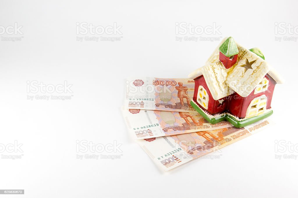 House and money on a white background stock photo
