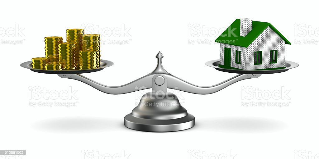 House and money on scales. Isolated 3D image stock photo