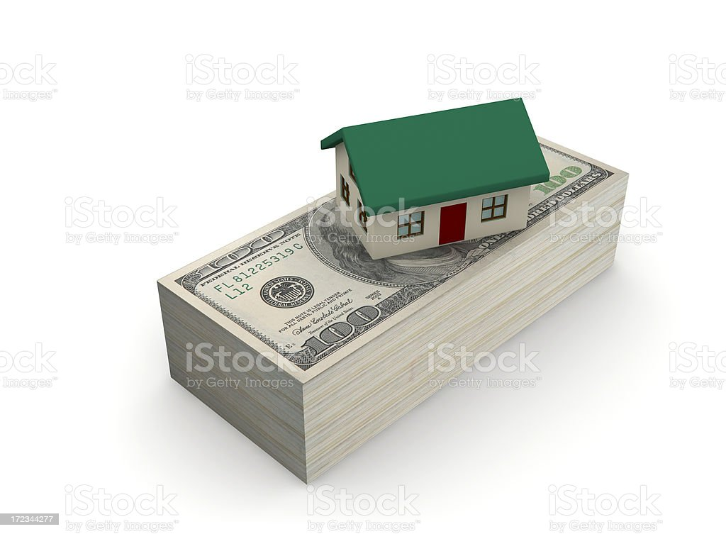 House and Money (with clipping path, isolated) royalty-free stock photo