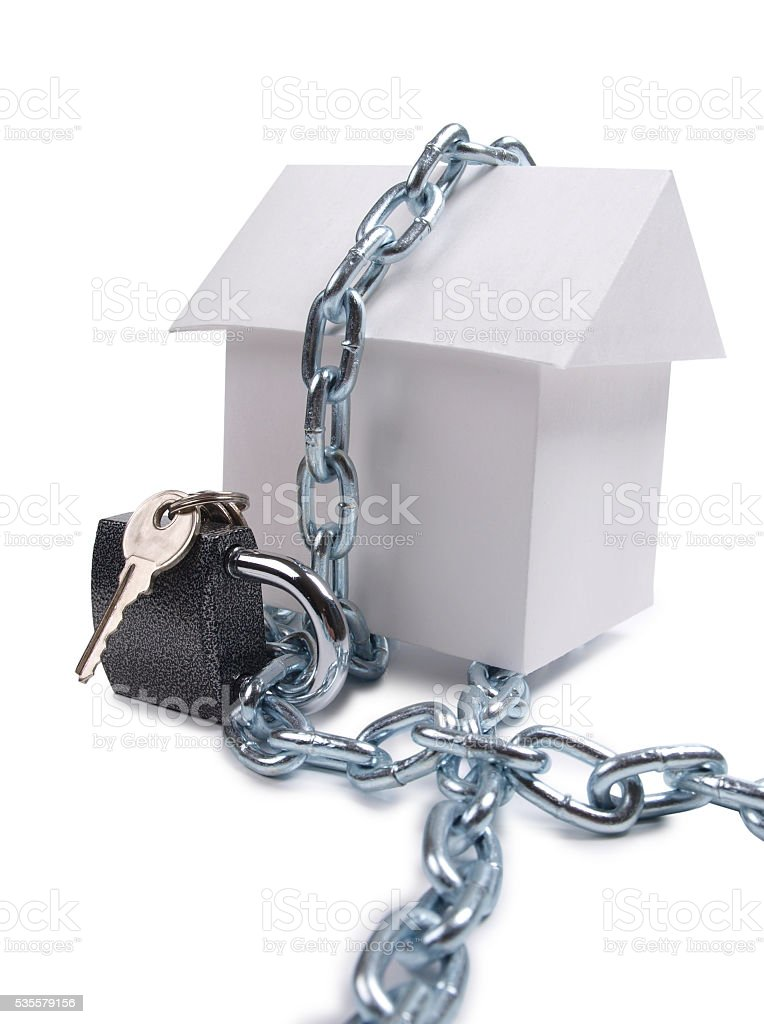 House and padlock stock photo