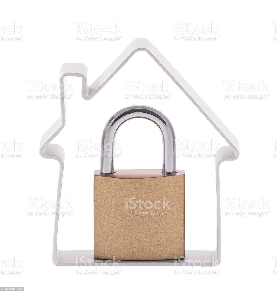 House and padlock with clipping path royalty-free stock photo