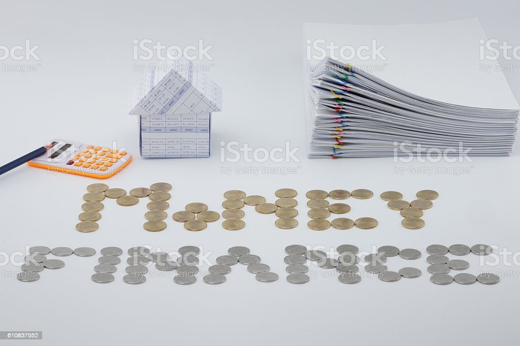 House and pile document with colorful paperclip royalty-free stock photo