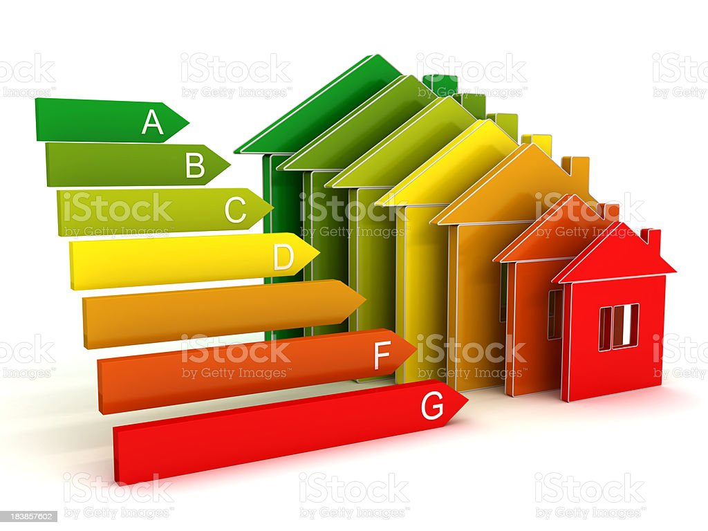 House and scale Energy efficiency concept royalty-free stock photo