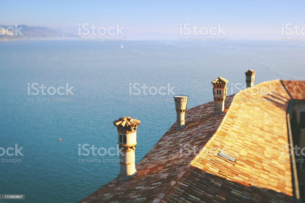 House and sea in Italy stock photo