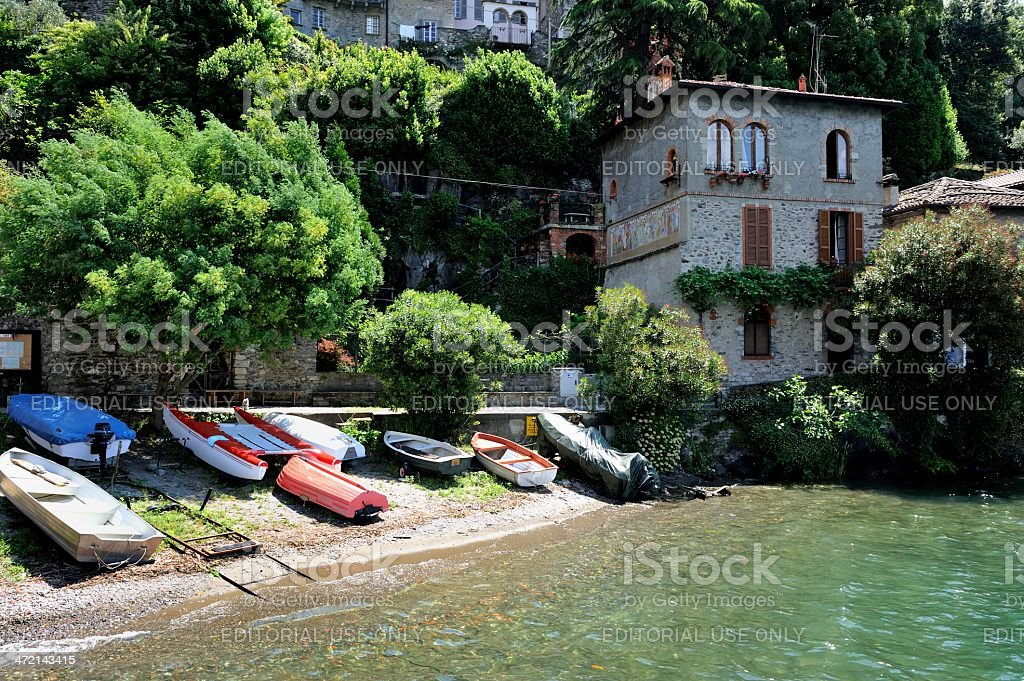 House and slipway on waterfront in Corenno Plinio royalty-free stock photo