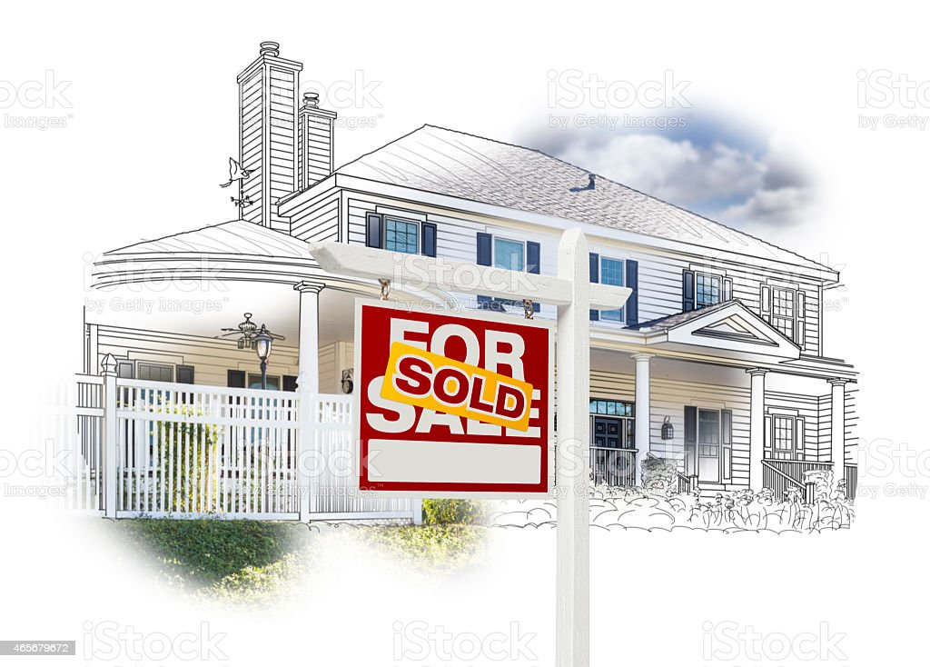 House and Sold Sign Drawing and Photo on White stock photo