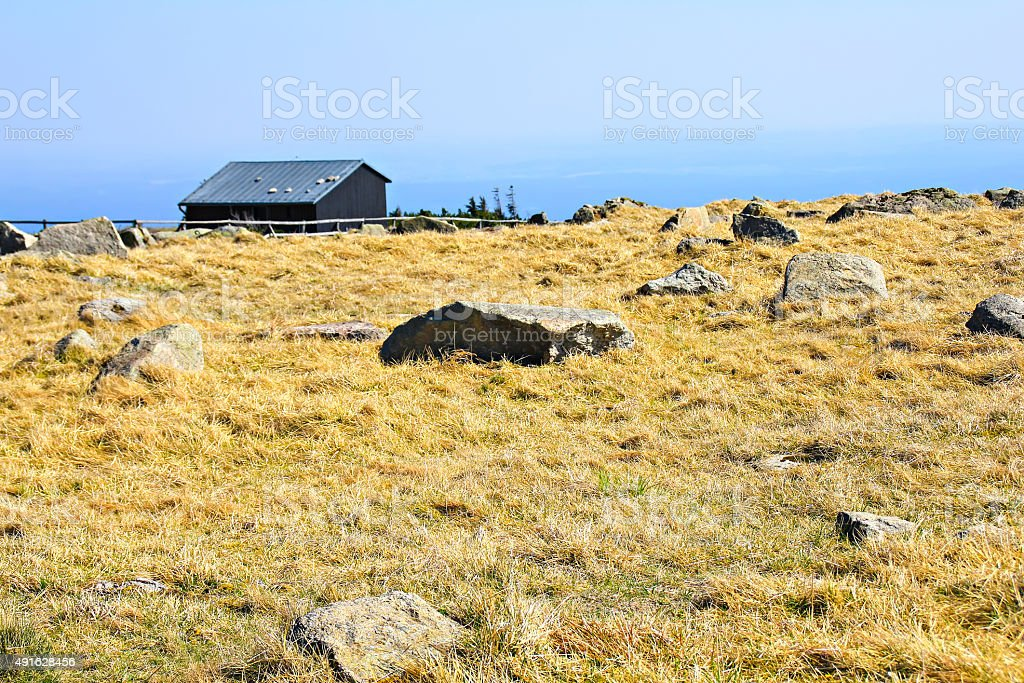 House and stones on the mountain Brocken stock photo