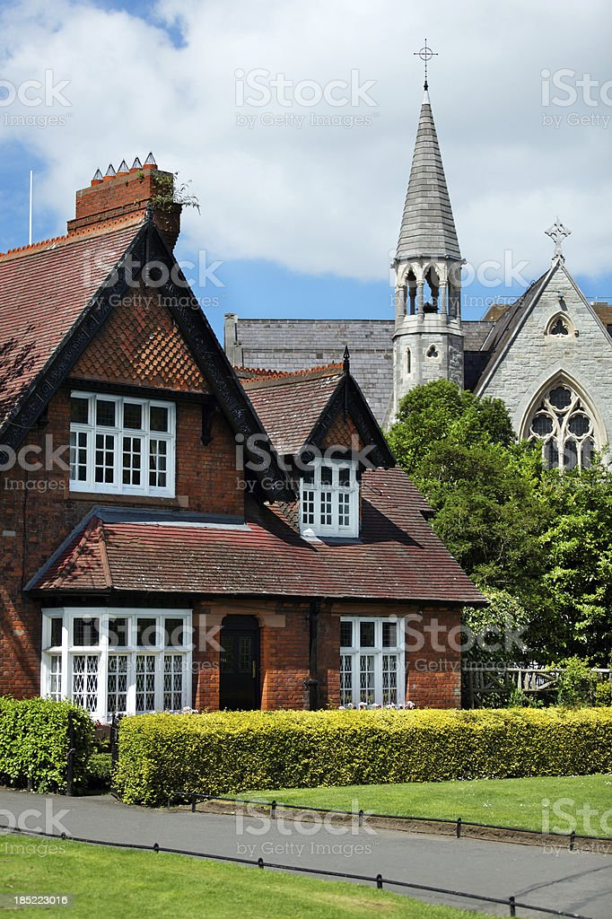 House and temple in Dublin. royalty-free stock photo
