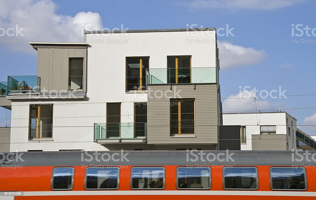 house and train royalty-free stock photo
