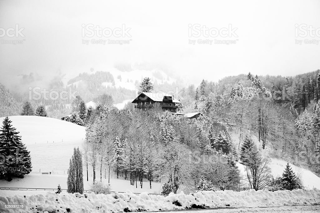 House and trees covered snow near the Swiss Alps. stock photo